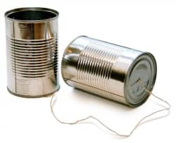 Communication using two tins attached by wire